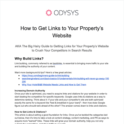 , How to Get Links to Your Property's Website, Odysys