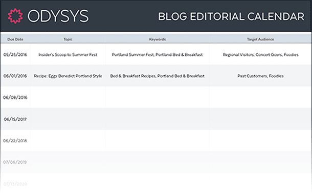 , Blog Editorial Calendar, Odysys