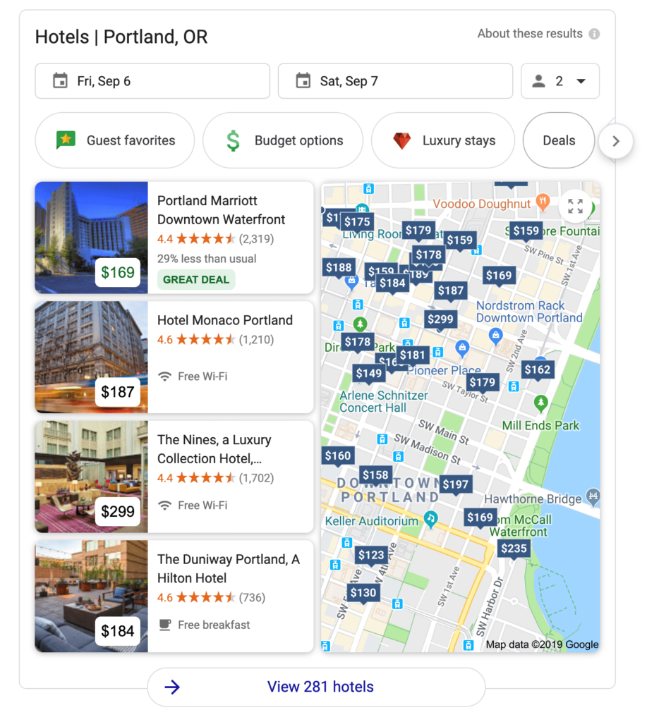 google hotel search map results
