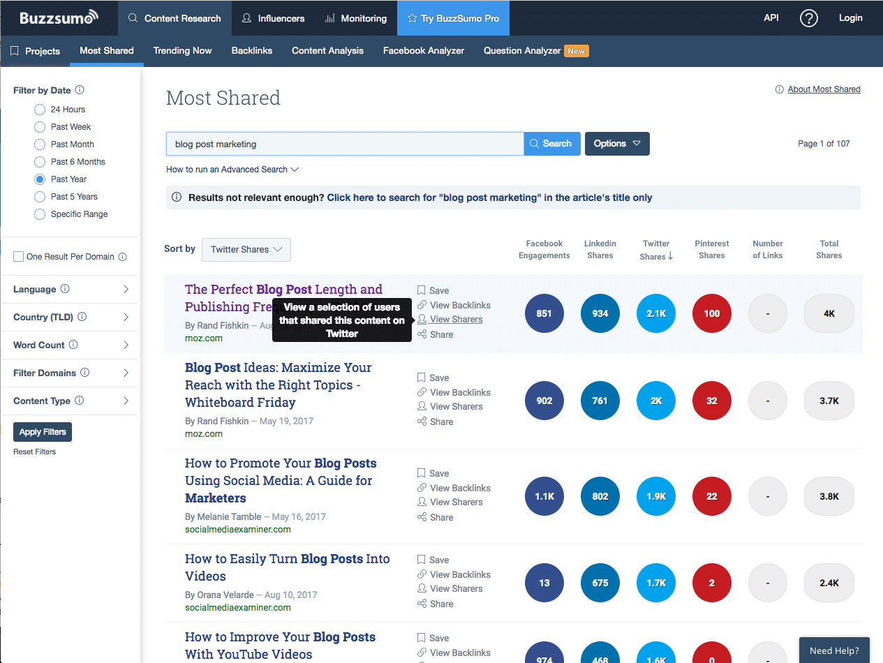 example of buzzsumo research for content sharers