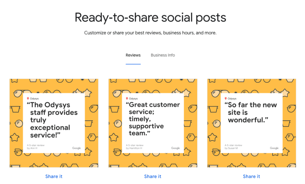 , Google My Business Updates: Reviews, Short Names, & Social Posts, Odysys