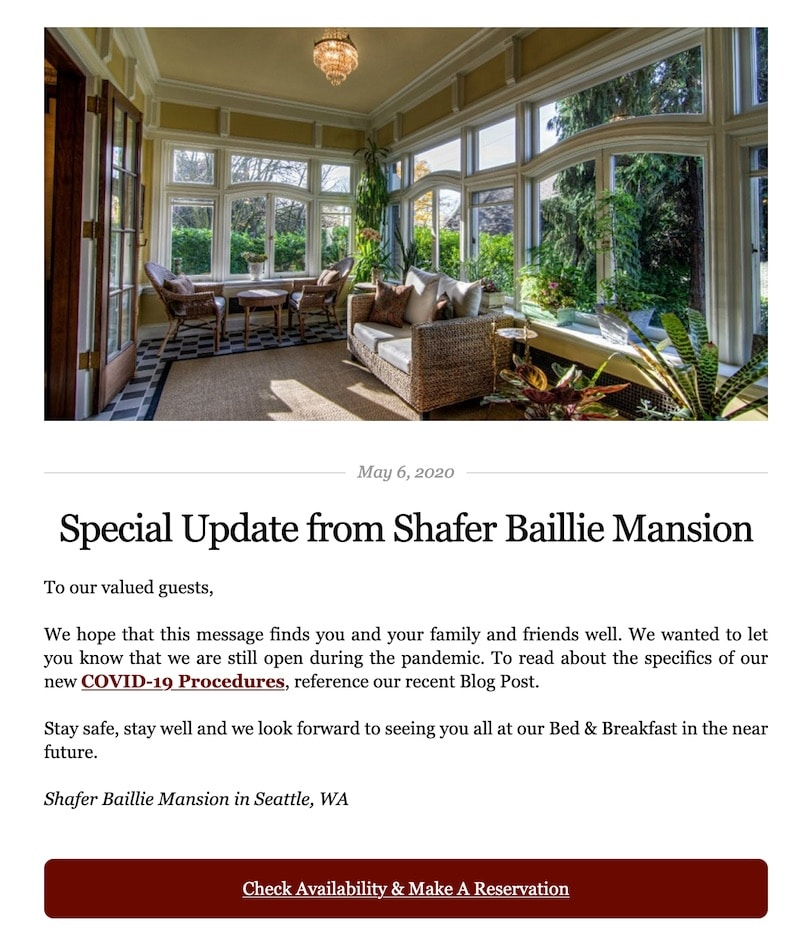 Shafer Baillie Mansion B&B covid email example