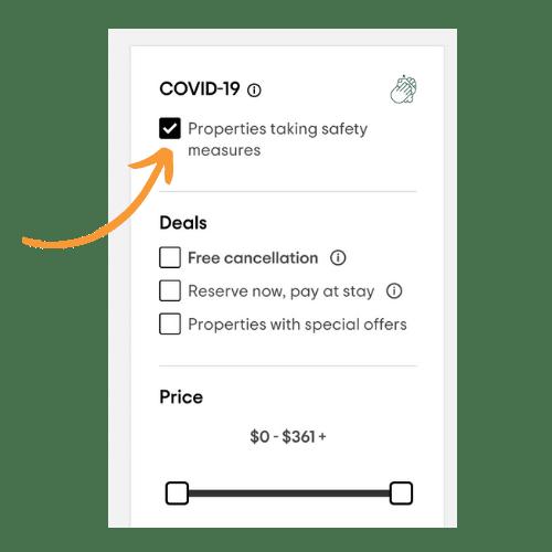 TripAdvisor Covid-19 checkbox filter