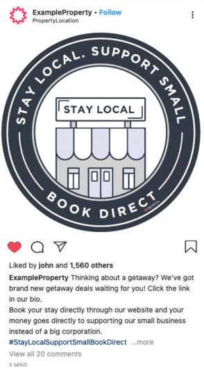 Instagram example post - #staylocalsupportsmallbookdirect