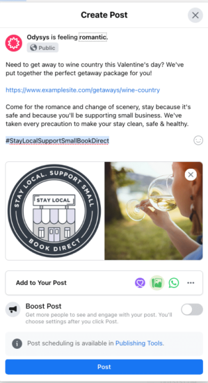 Example Facebook Post - #StayLocalSupportSmallBookDirect