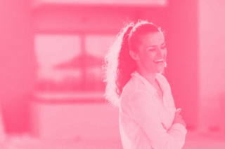 woman laughing pink color overlay